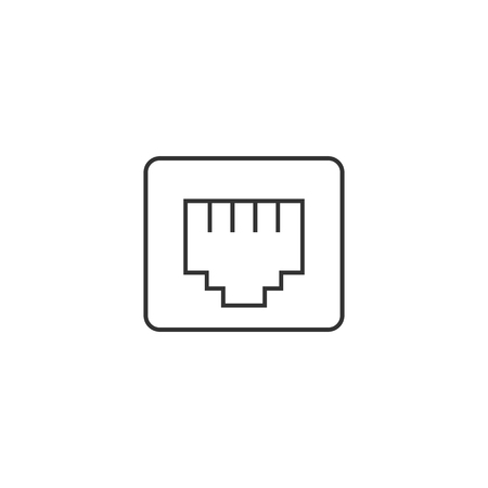 tcp: Local area connector icon in thin outline style. Computer network internet connection broadband infrastructure