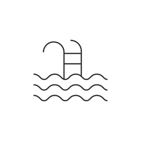 competitions: Swimming pool icon in thin outline style. Athlete fitness water sport skill