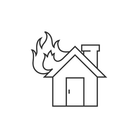 sabotage: House fire icon in thin outline style. Nature disaster sabotage accident insurance risk claim