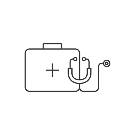 medical doctors: Medical case icon in thin outline style. Health care equipment Illustration