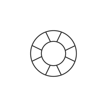 security symbol: Ring buoy icon in thin outline style. Safety equipment sea swimming water drowning