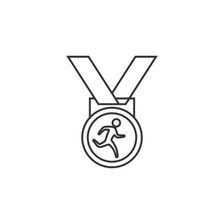 finisher: Athletic medal icon in thin outline style. Sport sprinter triathlon marathon prize Illustration