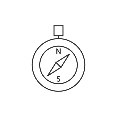 website: Compass icon in thin outline style. Direction north south lost locate Illustration