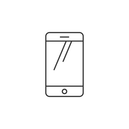 Smartphone icon in thin outline style. Communication device, touch screen