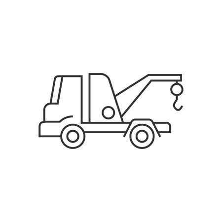 auto service: Tow icon in thin outline style. Car automobile accident evacuate emergency Illustration