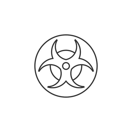 view: Biohazard symbol icon in thin outline style. Science technology biology environment hazard danger