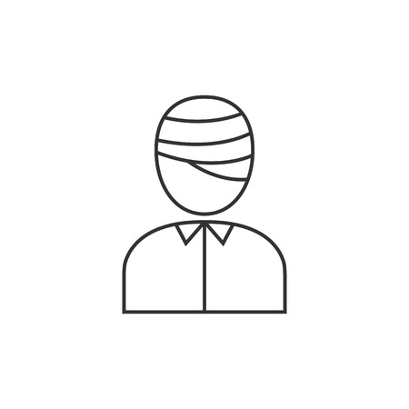 Injured head icon in thin outline style. Health medical man healing insurance