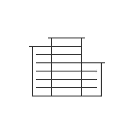 hotel building: Hotel building icon in thin outline style. Exterior accommodation travel city construction Illustration