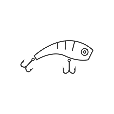 white salmon river: Fishing lure icon in thin outline style. Sport water sea lake river attracts recreation Illustration