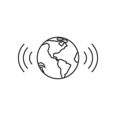 global connection: Wireless world icon in thin outline style. Internet communication connection global