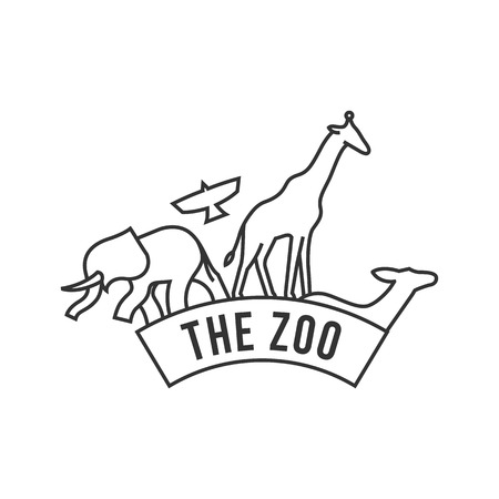 tropical: Zoo gate icon in thin outline style. Animal jungle park safari Illustration