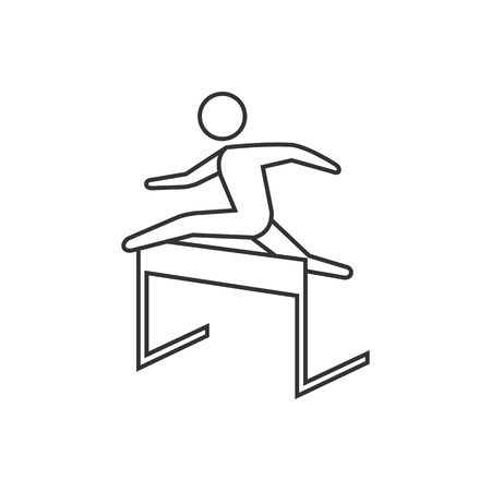 Hurdle run icon in thin outline style. Sport competition running sprint challenge 向量圖像