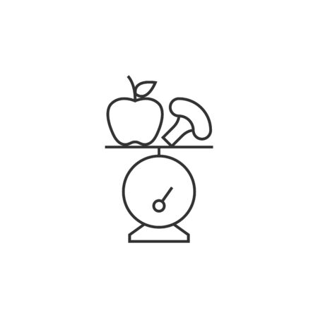 Food scale icon in thin outline style. Healthy lifestyle diet fresh vegetable fruit