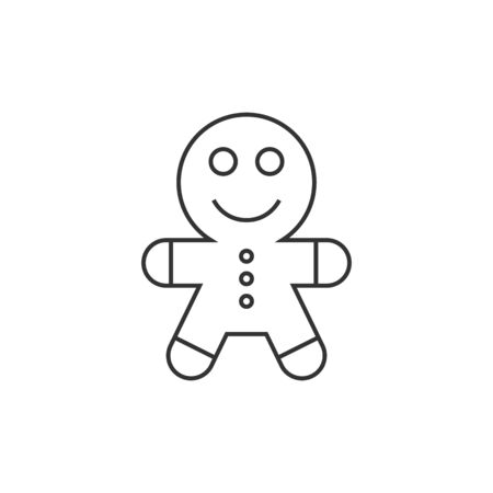 Gingerman icon in thin outline style. Food snack cake ginger bread brown