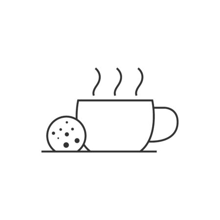 meet up: Chocolate drink icon in thin outline style. Warm hot sweet energy Illustration
