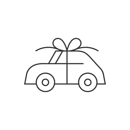 ribbon: Car prize icon in thin outline style. Business automotive gift present love giving birthday Illustration