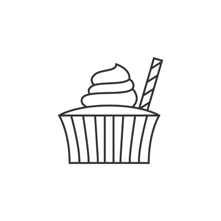 biscuits: Cake icon in thin outline style. Food sweet delicious glazed chocolate dessert