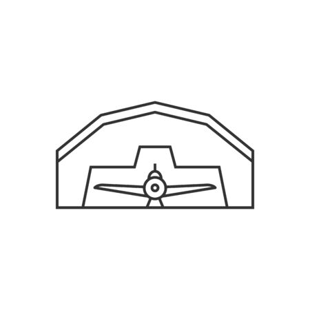 building structure: Airplane hangar icon in thin outline style. Aviation repair maintenance building structure