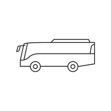 website: Car icon in thin outline style. Bus, transportation