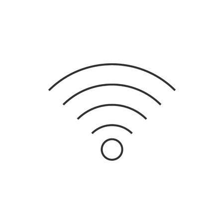 wireless signal: WiFi symbol icon in thin outline style. Electronic computer wireless connection internet