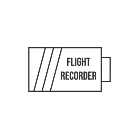 safety: Flight recorder icon in thin outline style. Transportation equipment aviation pilot conversation data