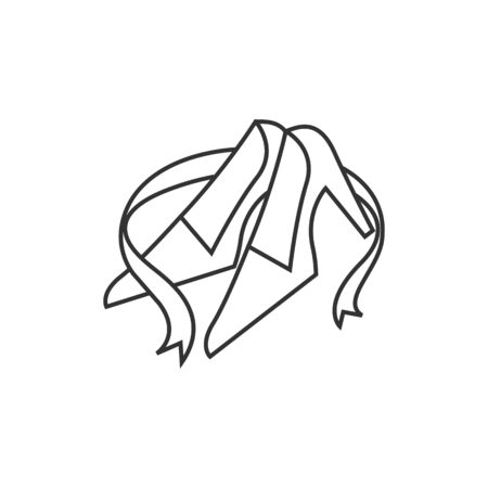Wedding shoes icon in thin outline style. Marriage day bridal decoration accessories event Illustration