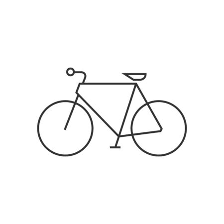 simple: Road bicycle icon in thin outline style. Sport, race, cycling, speed
