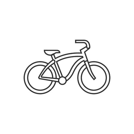 city: Low rider bicycle icon in thin outline style. Sport transportation park city urban vintage retro Illustration