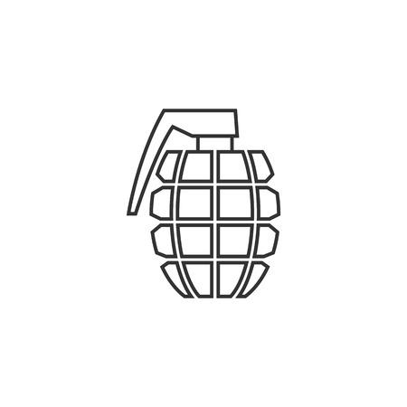 lanzamiento de bala: Grenade icon in thin outline style. Military army explosive fragmented attack throw
