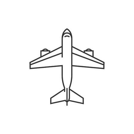 passenger transportation: Airplane icon in thin outline style. Aviation transportation travel passenger commercial