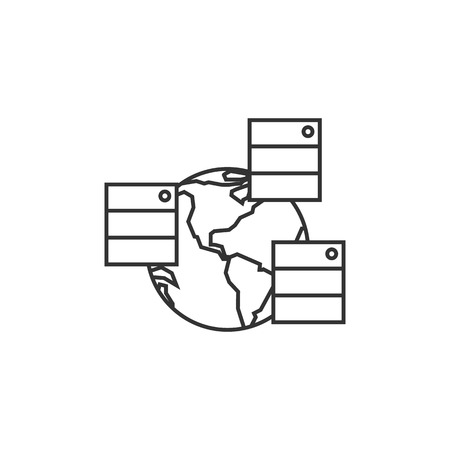 clouds: Server icon in thin outline style. Mirror, multiple Illustration