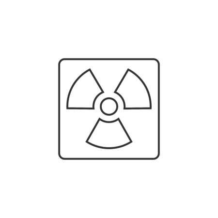 gamma radiation: Radioactive symbol icon in thin outline style. Science research energy nuclear waste