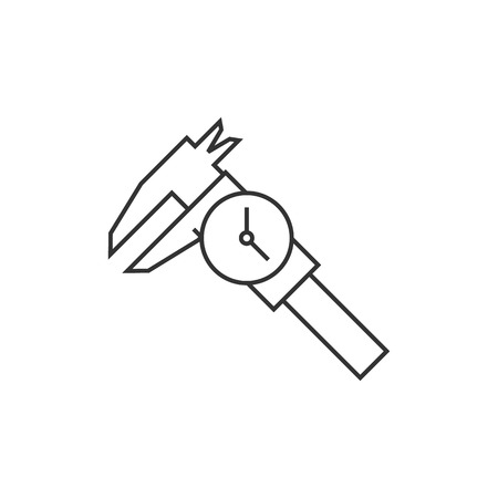 Dial caliper icon in thin outline style. Instrument equipment measurement accuracy millimeter