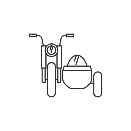 Military motorcycle icon in thin outline style. Side car army transport Illustration