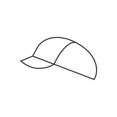 competitions: Cycling hat icon in thin outline style. Sport transportation bicycle head cover protection Illustration