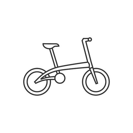 foldable: Bicycle icon in thin outline style. Sport cycling road city urban folding foldable working