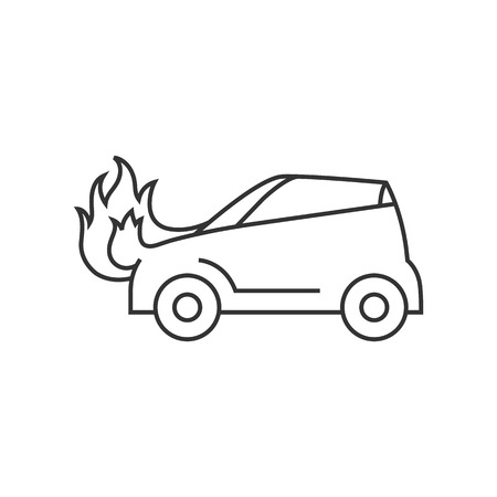 roadside stand: Car on fire icon in thin outline style. Automotive transportation accident accident burned insurance claim
