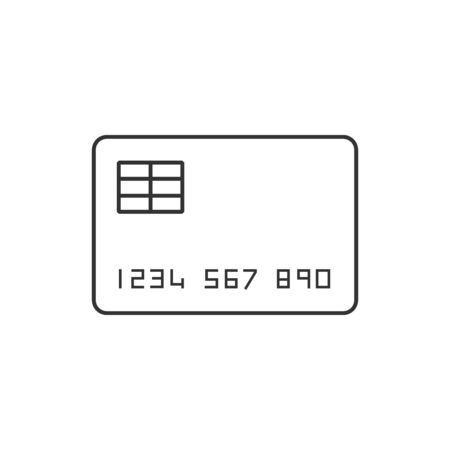 paying: Credit card icon in thin outline style. Money buying shopping sale Illustration