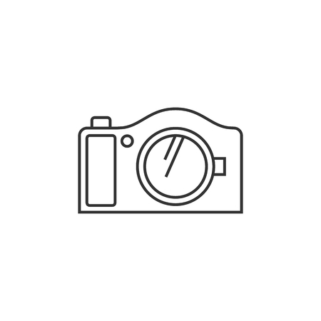 Camera icon in thin outline style. Photography picture electronic imaging capture mirror less digital