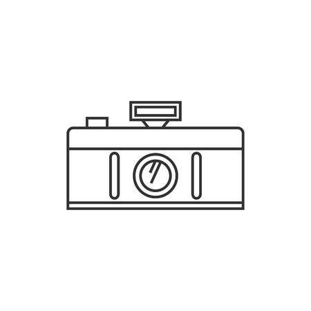Icona della fotocamera panoramica in stile contorno sottile. Obiettivo di fotografia di architettura della natura del paesaggio
