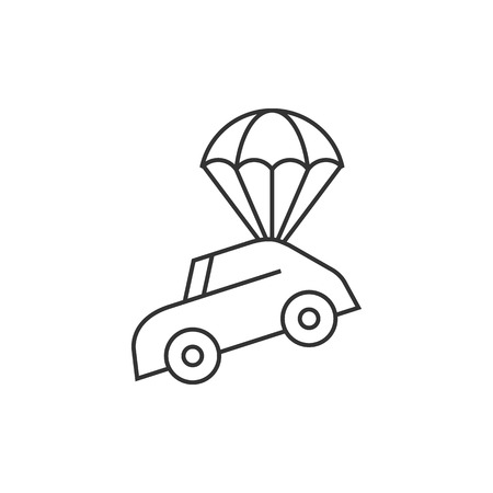 auto service: Car parachute icon in thin outline style. Insurance protection investment transportation