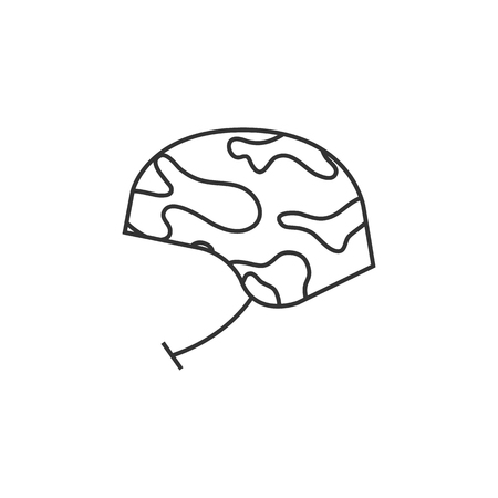 danger: Military helmet icon in thin outline style. Object army head protection safety bullet proof