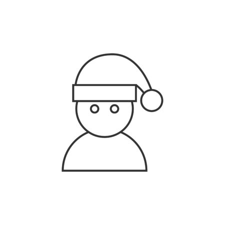 greeting season: Snowman icon in thin outline style. Snow winter December season Christmas