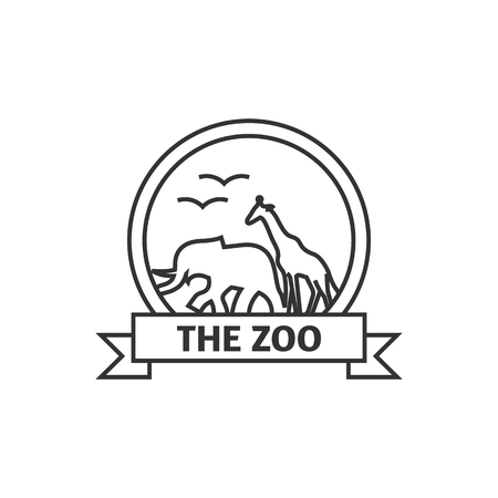 Zoo gate icon in thin outline style. Animal park jungle safari