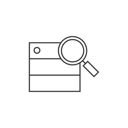 Database search icon in thin outline style. Hardisk file server data center find Illustration