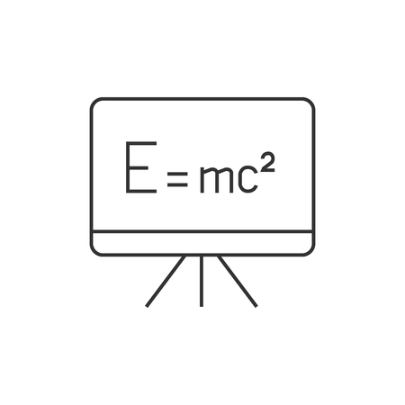 Blackboard icon in thin outline style. Education school college physics math Illustration