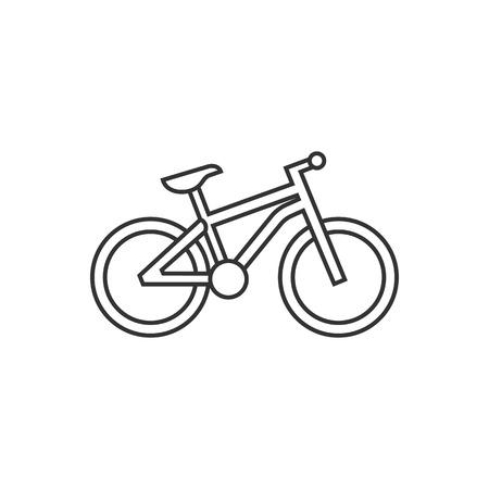 Mountain bike icon in thin outline style. Sport transportation explore distance endurance bicycle