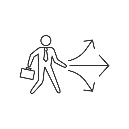 Businessman choice icon in thin outline style. Business option career arrows direction