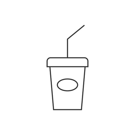 website: Soft drink icon in thin outline style. Junk fast food high sugar