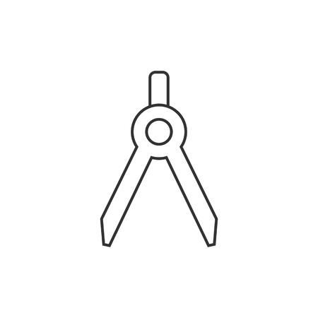 Drawing compass icon in thin outline style. Illustration painting working tool precision